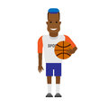 Black sportsman basketball player illustration of on white background Stock Images