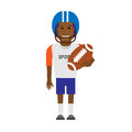 Black sportsman football player illustration of on white background Stock Images