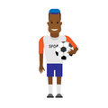 Black sportsman soccer player illustration of on white background Stock Photo