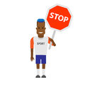 Black sportsman with stop sign illustration of on white background Stock Images