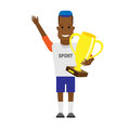 Black sportsman winner illustration of on white background Stock Image