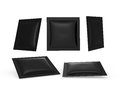 Black square heat sealed packet with clipping path Royalty Free Stock Photo