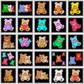 Black stamps with colored teddies Royalty Free Stock Images