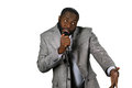 Black stand-up comedian. Royalty Free Stock Photo