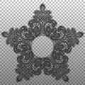 Black star lace abstract pattern. Vecor isolated tapestry ornament Royalty Free Stock Photo