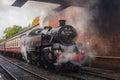 Black steam train awaiting departure Royalty Free Stock Photo