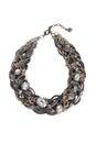 Black Stone Necklace Isolated on White Royalty Free Stock Photo
