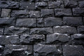 Black stone wall  background texture Royalty Free Stock Photo