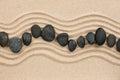 Black stones on the sand Royalty Free Stock Photo