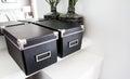 Black storage boxes Royalty Free Stock Photo