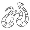 Black striped snake icon, outline style