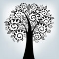 Black Stylized Tree. Vector Royalty Free Stock Image