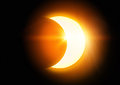 The black sun moon covering in a partial eclipse Stock Images