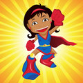 Black Super hero Girl. Royalty Free Stock Photo