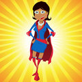 Black Super Woman Mother Cartoon Royalty Free Stock Photography