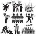 Black Symbol Protest Icon Set.