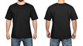 Black t-shirt on a young man white background, front and back Royalty Free Stock Photo