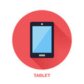 Black tablet with blank screen flat style icon. Wireless technology, mobile device sign. Vector illustration of