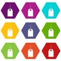 Black tag icon set color hexahedron