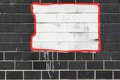 Black Tailed Wall With  White Painted Banner Background Royalty Free Stock Photo