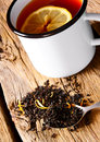 Black tea with lemon. Royalty Free Stock Photo