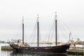 Black Three Masted Schooner in Halifax Royalty Free Stock Photo