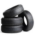 Black Tires Isolated On White ...