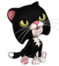Black toon cat Stock Images