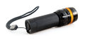 Black torchlight with strap on white background Royalty Free Stock Images
