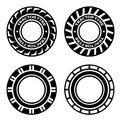 Black tractor tyre symbols illustration for the web Royalty Free Stock Photography