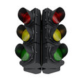 Black traffic light d image of a regulating in the city Royalty Free Stock Photos