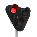 Black traffic lights with red signal isolated on white stop background Stock Images
