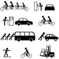 Black transportation icons Stock Photography