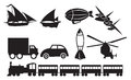 Black transportation icons against white background vector illustration of different modes of vehicles silhouettes Stock Photography