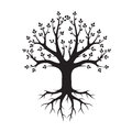 Black Tree and Roots. Vector Illustration
