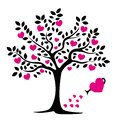 Black tree silhouette with leaves and pink hearts. Love tree. Greeting card for Valentine`s Day