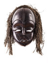 Black tribal face mask on isolated on white Royalty Free Stock Photo