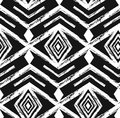 Black tribal Navajo vector seamless pattern with doodle elements. aztec abstract geometric art print. ethnic hipster Royalty Free Stock Photo
