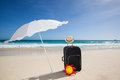 Black trolley under a sunshade Royalty Free Stock Images