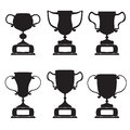 Black trophy and awards icons set vector Royalty Free Stock Images