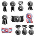 Black trophy and awards icons set vector Stock Images