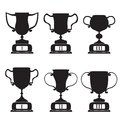 Black trophy and awards icons set vector Royalty Free Stock Photos