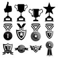 Black trophy and awards icons set vector Royalty Free Stock Photo