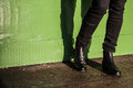 Black trousers and ladies vintage boots Royalty Free Stock Image