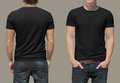 Black tshirt on a young man template isolated Royalty Free Stock Photography