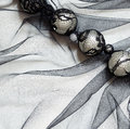 Black tulle with beads for background Royalty Free Stock Photos