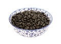 Black turtle beans in a blue and white china bowl Royalty Free Stock Photo