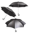 Black umbrella different views pure umbrellas with view angles Royalty Free Stock Photography