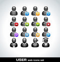 Black user icons set vector Royalty Free Stock Photography