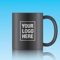 Black vector coffee mug